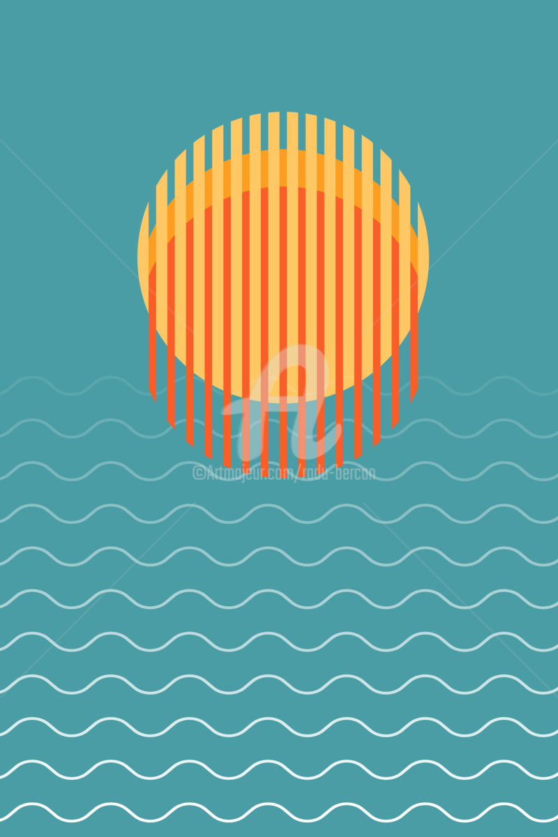 Minimalist Beautiful Sunset Over Ocean - Arts numériques ©2018 par Radu Bercan -                                                                                                                                                                                Art abstrait, Art conceptuel, Illustration, Minimalisme, Art abstrait, Plage, Couleurs, Géométrique, Paysage, Nature, Paysage marin, Voyage, Eau, sunset, vector, sun, sunrise, icon, background, sky, illustration, sea, summer, nature, logo, landscape, design, water, ocean, abstract, travel, retro, art, beautiful, silhouette, horizon, morning, tropical, vacation, orange, bright, yellow, blue, symbol, light, space, wave, surface, sunlight, sunshine, exotic, shining, circle, sign, dusk, dawn, rise, sun set, minimalistic, minimalist, minimalism
