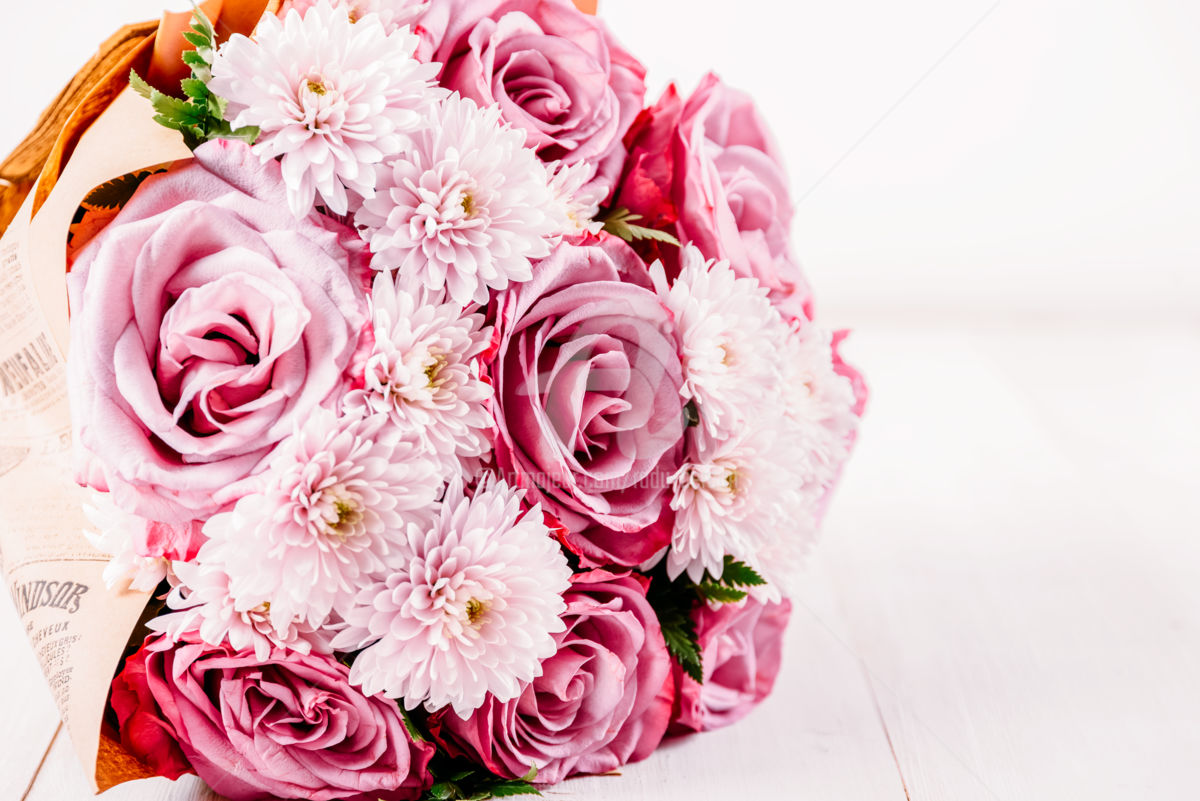 Pink Roses And Gerbera Daisy Flowers Bouquet Photography By Radu