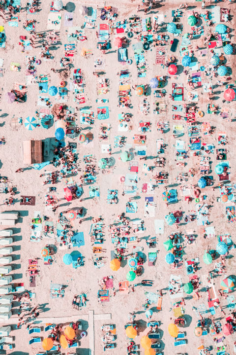 Umbrellas, Beach And Lots Of Sun In Portugal - Photography ©2019 by Radu Bercan -                                                                                            Documentary, Aerial, Beach, Landscape, Nature, People, beach print, aerial beach print, beach decor, beach photography, beach wall art, coastal decor, wall decor, modern wall art, beach poster, aerial, beach, sand, sandy, summer, umbrella, umbrellas, people, tanning, tan, aerial drone photography