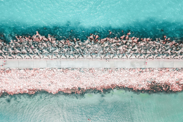Walking Down The Pier - Photography ©2019 by Radu Bercan -                                                                                                        Documentary, Minimalism, Aerial, Beach, Landscape, Nature, Seascape, aerial photography, pier, aerial, photography, ocean, sea, beach, coastal, coast, drone photography, drone, horizontal, line, walking, concept, abstract, water, blue, teal, turquoise