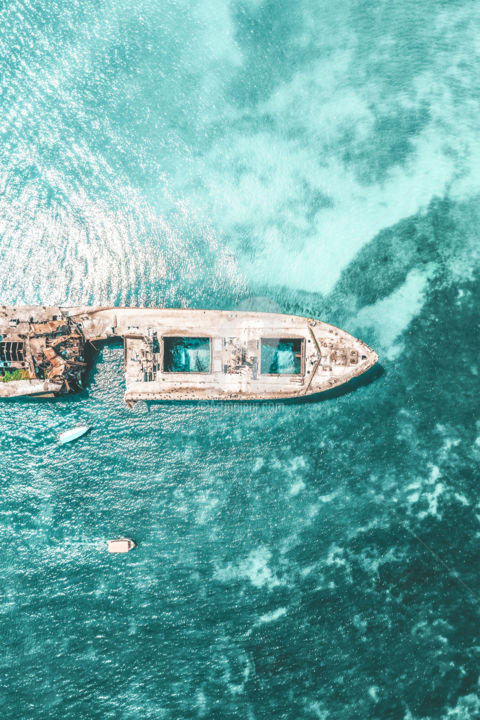 Shipwreck At The Black Sea - Photography ©2019 by Radu Bercan -                                                                                            Documentary, Aerial, Boat, Landscape, Nature, Seascape, shipwreck, ocean, sea, coastal, coast, ship, wreck, blue, teal, turquoise, waves, wave, water, landscape, nature, metal, transparent, black sea, ocean waves, aerial