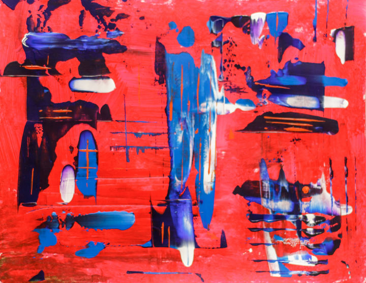 Red, blue, white - Painting,  11x14 in, ©2018 by Rafael Ayala -                                                                                                                                                                                                                                                                                                                                                                                                                                                                                                                                                                                                                                      Abstract, abstract-570, Abstract Art, Colors, red, blue, white, man, fire, sky, rain, raindrops, building