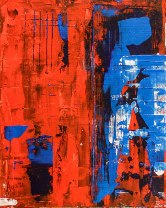 Red, Black, Blue - Painting,  11x8 in, ©2018 by Rafael Ayala -                                                                                                                                                                                                                                                                                                                                                                                                                                                                                                  Abstract, abstract-570, Abstract Art, red, blue, black, calm, strong, relaxing, bold