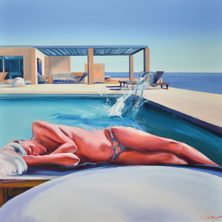 Madame AE'01 SWIMMING POOL - Peinture,  47,2x47,2x0,8 in, ©2019 par Rafał Knop -                                                                                                                                                                                                                                                                                                                                                              Surrealism, surrealism-627, Nu, Érotique, Femmes, wooman, pool