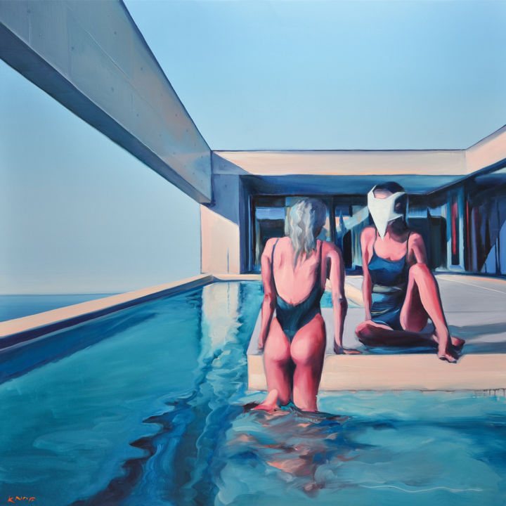 spool-in-blue-3200px-rafal-knop-2018.jpg - Painting,  125x125x2 cm ©2018 by Rafał Knop -                                                        Surrealism, Architecture, Women, Villa with pool, woman, swimming pool