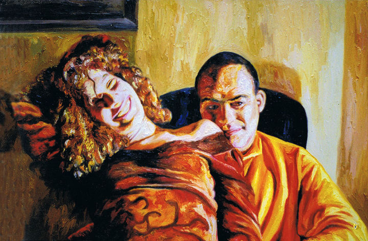 realistic painting of man woman hugging men women - Painting,  60x92 cm ©2018 by Raphael Perez -                                            Realism, Portraits, realism art, realism paintings, realism painting, realistic art, realistic paintings, realistic painting, couple hugging, paintings of couple, painting of couple, couple artworks, couple artwork, raphael perez, raphael perez artworks, raphael perez realism, raphael perez painter, raphael perez artist, israeli artist, israeli painter, israeli painters, israeli artists, israeli art, israeli arts, israeli paintings, israeli painting