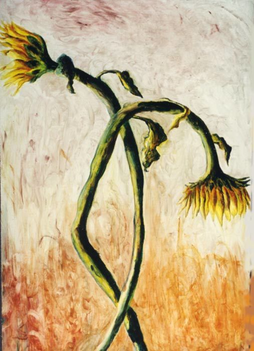expressive couple of sunflowers paintings realistic art painting 2 sun flowers artworks - Painting,  47.2x31.5 in, ©2016 by Raphael Perez -                                                                                                                                                                                                                                                                                                                                                                                                                                                                                                                                                                                                                                                                                                                              Expressionism, expressionism-591, Flower, sunflowers, sunflower, sun flowers, sun flower, flowers, flower, flowers paintings, flowers art, flower painting, flower paintings, sunflowers art, sunflowers paintings