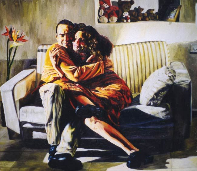 realistic painting couple hugs man woman hugging male female love relationship raphael perez realism - Painting,  55.1x63 in, ©2016 by Raphael Perez Israeli Painter Artist -                                                                                                                                                                                                                                                                                                                                                                                                                                                                                                                                                                                                                                                                                                                              Figurative, figurative-594, People, realism art, realism paintings, couple paintings, couple love paintings, couple hugs paintings, man woman hugs, man woman hugging, male female paintings, male female painting, male female hugging, male female hugging painting, couple hugging paintings