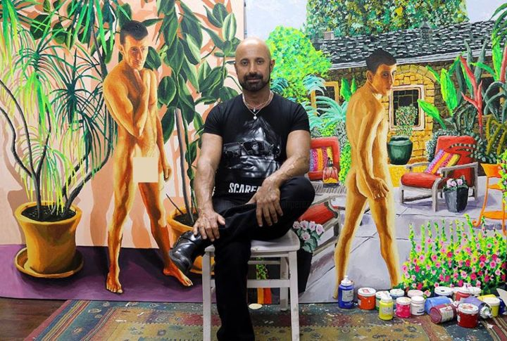 gay art homoerotic painter queer artists painters - Painting,  39.4x66.9 in, ©2017 by Raphael Perez -                                                                                                                                                                                                                                                                                                                                                                                                                                                                                                                                                                                                                                                                                                                                                                                                                                                                                                              Figurative, figurative-594, Erotic, gay art, gay artist, gay artists, gay painter, gay painters, gay artworks, gay artwork, homosexual art, homosexual painting, homosexual paintings, homosexual painter, homosexual painters, homosexual artists, homosexual artist, queer art, queer artists