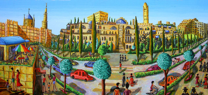naive art jerusalem city painting israeli painter - Painting,  39.4x78.7 in, ©2017 by Raphael Perez -                                                                                                                                                                                                                                                                                                                                                                                                                                                                                                                                                                                                                                                                                                                                                                                                                                                                  Naive Art, naive-art-948, Landscape, jerusalem art, jerusalem painter, jerusalem city, jerusalem naive art, jerusalem painting, israeli painter, israeli naive art, israeli naive painter, israeli city, israeli jerusalem, naive art, naive art painting, naive painting, israeli painting, israeli art