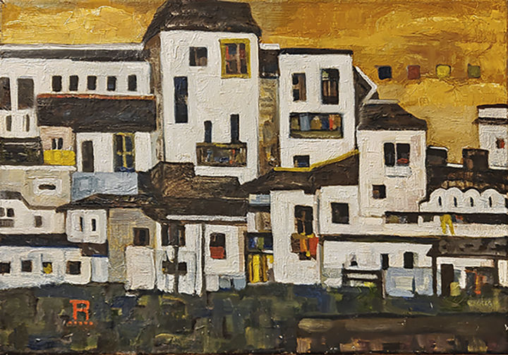 """Painting titled """"The houses"""" by Raik Marko, Original Art, Oil"""