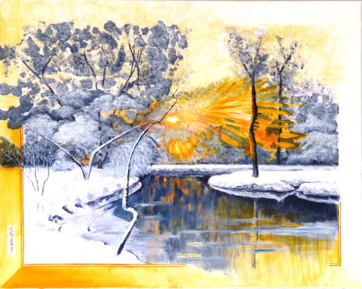Soleil d'hiver - Painting,  28.7x36.2 in, ©2015 by M.Ou Mme Rajot Jean Louis -                                                              Nature
