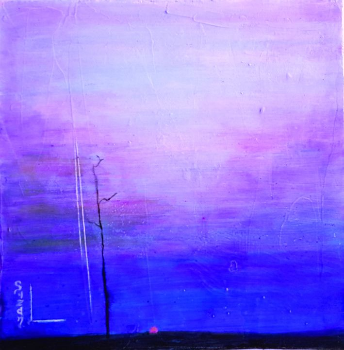 Solitude crépusculaire - Painting,  30x30 cm ©2015 by SUZAN -