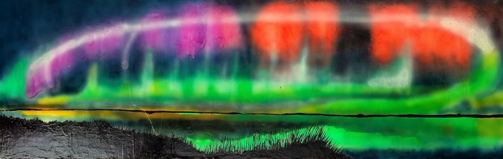 Aurore boréale rose ,rouge et vert - Painting,  15.8x47.2 in, ©2016 by M.Ou Mme Rajot Jean Louis -                                                                                                              Other, Outer Space