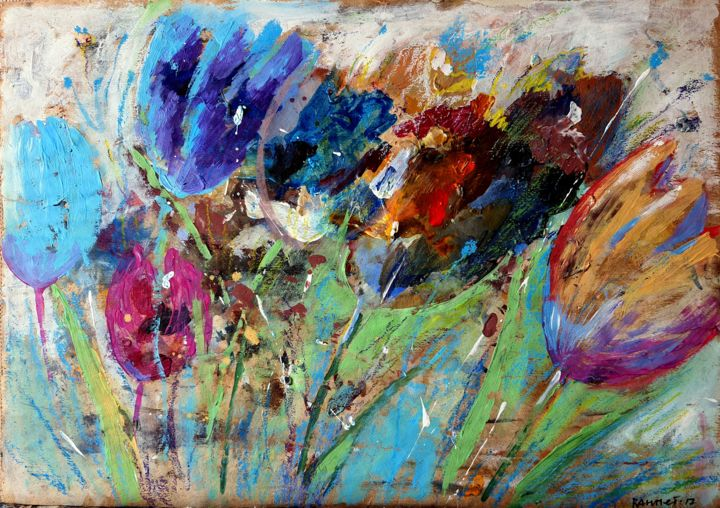 """Painting titled """"Tulips Colored"""" by Rahmet, Original Art, Acrylic"""