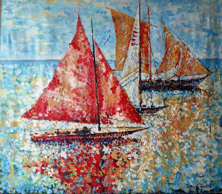 """Painting titled """"Sails and Sun 2"""" by Rahmet, Original Art, Acrylic"""