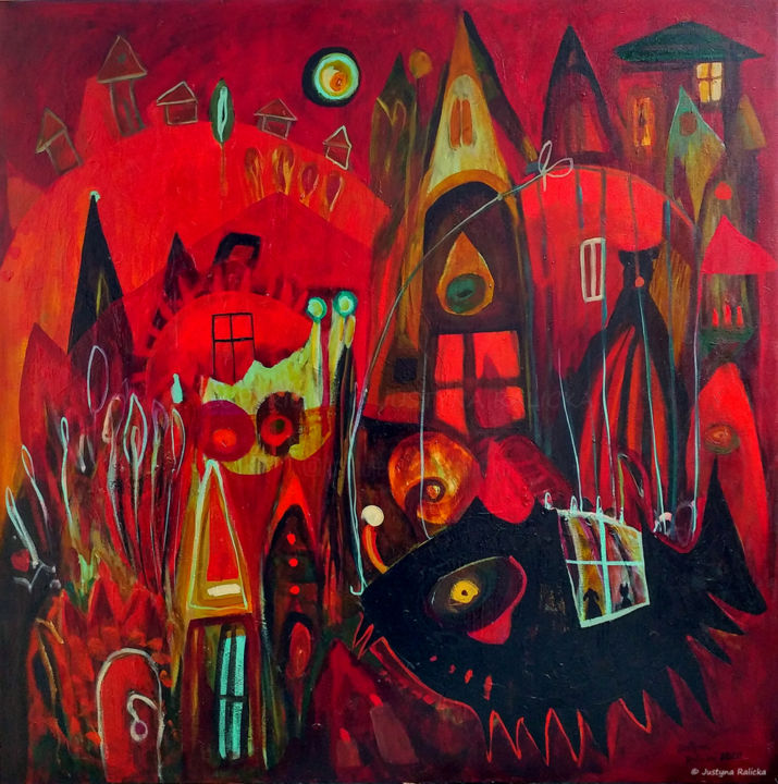 """Painting titled """"Fish Town III / Ryb…"""" by Justyna Ralicka, Original Art, Oil"""