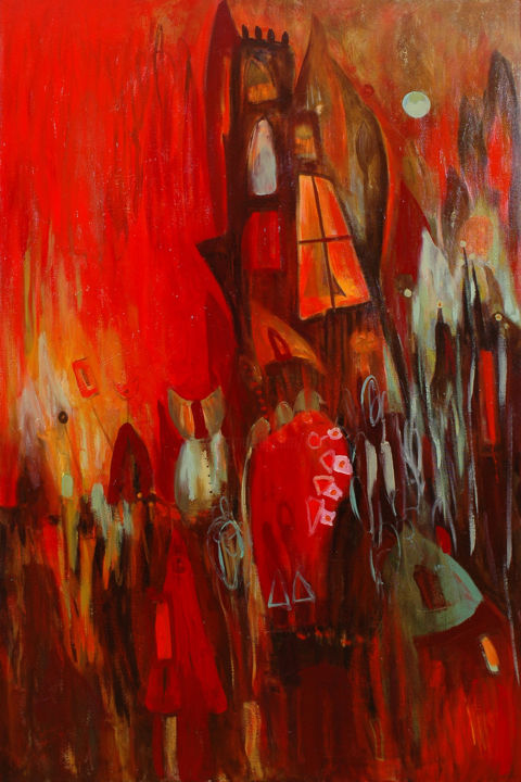 """Painting titled """"Old House / Stary D…"""" by Justyna Ralicka, Original Art, Oil"""
