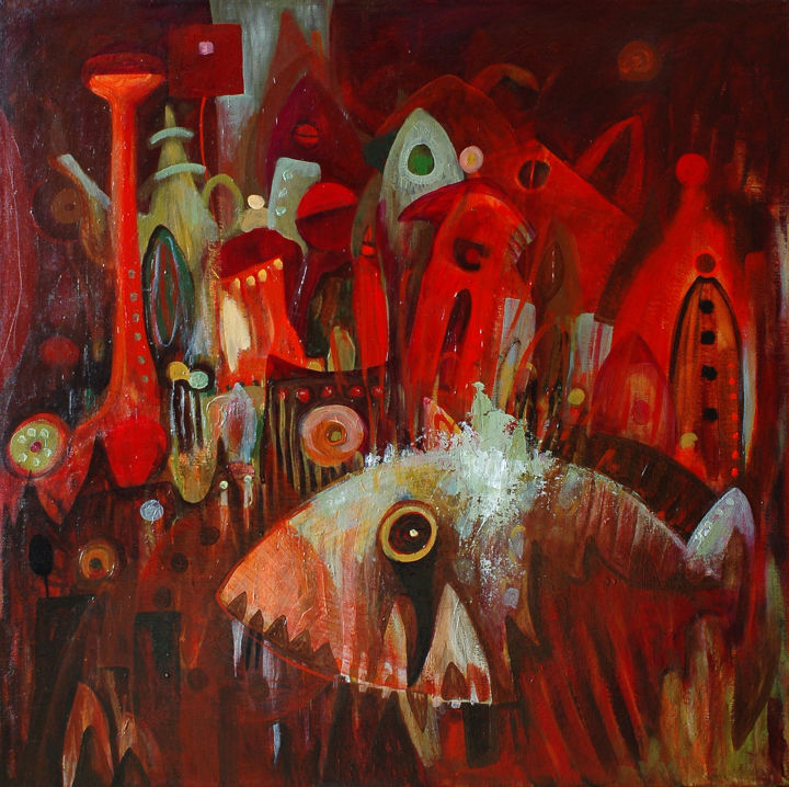 """Painting titled """"Fish Town II / Rybi…"""" by Justyna Ralicka, Original Art, Oil"""
