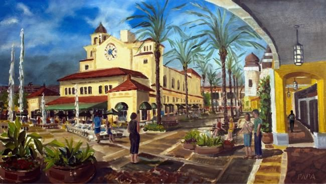 City Center at Palm Beach - Painting,  20x35 in, ©2007 by Ralph Papa -                                                              cityscape florida