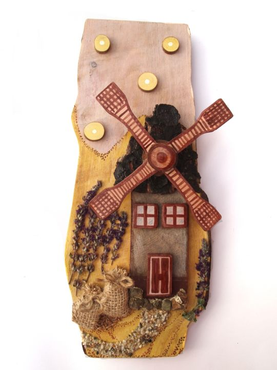 """Collages titled """"The mill with luck.…"""" by Raluca Robu, Original Art,"""