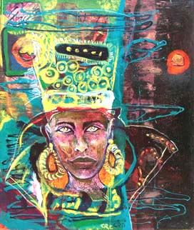 Queen Nefertiti - Painting,  47.2x39.4 in, ©2008 by Ralu -                                                              egypt egipt woman history color romanian good