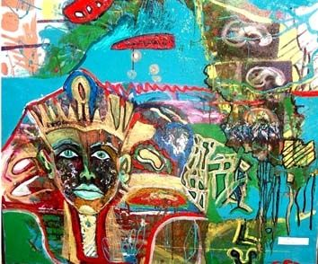Tutankamon - Painting,  39.4x39.4 in, ©2003 by Ralu -                                                              king egipt man boy beautiful