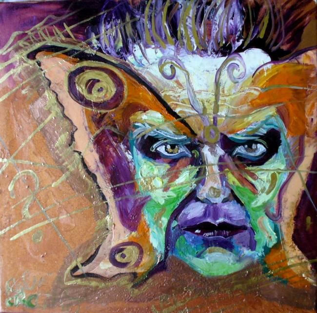 Butterfly Man - Painting,  19.7x19.7 in, ©2008 by Ralu -                                                              man butterfly deep mind woman human animal insect
