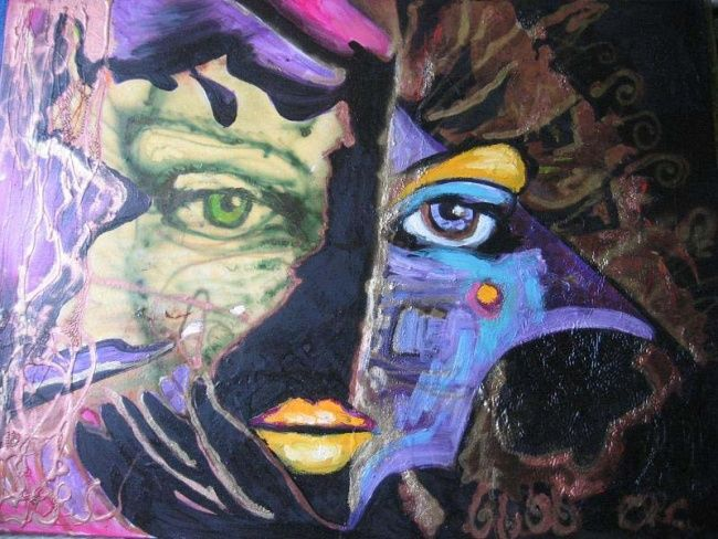 Dubble Mask - Painting,  19.7x27.6 in, ©2008 by Ralu -                                                              mask human drow paint people mistery