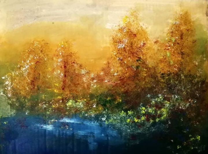 """Painting titled """"Autumn forest"""" by Rama Zleta, Original Art, Oil"""