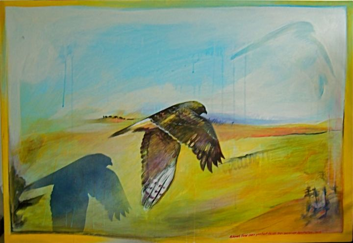 """Painting titled """"Hawk Flew out"""" by Ross Melles, Original Art,"""