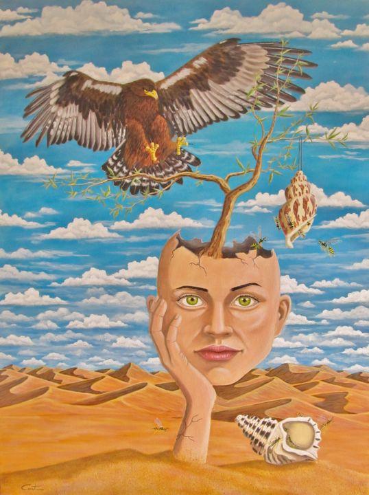 Dunes - Painting,  45.3x33.5x0.8 in, ©2017 by Caetano Ramalho -                                                                                                                                                                                                                                                                                                                                                                                                                                                                                              Surrealism, surrealism-627, surreal, surrealism, desert, dunes, eagle, wasps, conch, woman