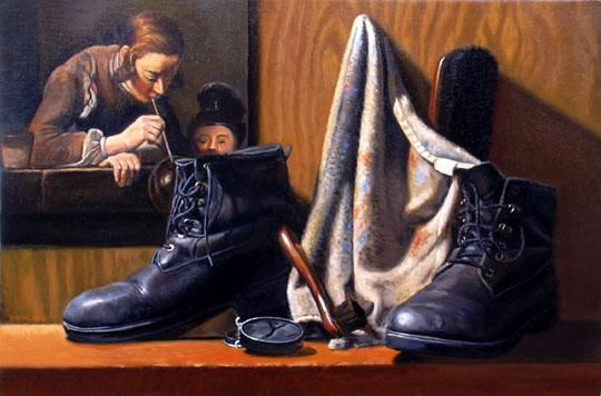 Shoe Shine with Chardin - Painting,  30x20 in ©2004 by Robert Mehling -                            Realism, still life, classical realism