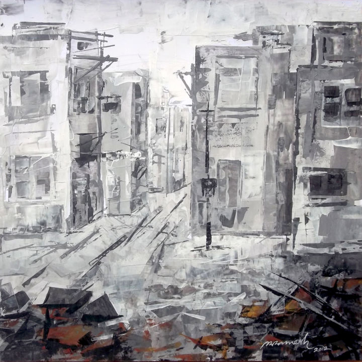 """Painting titled """"The Street 3"""" by A R Ramesh, Original Art, Acrylic"""