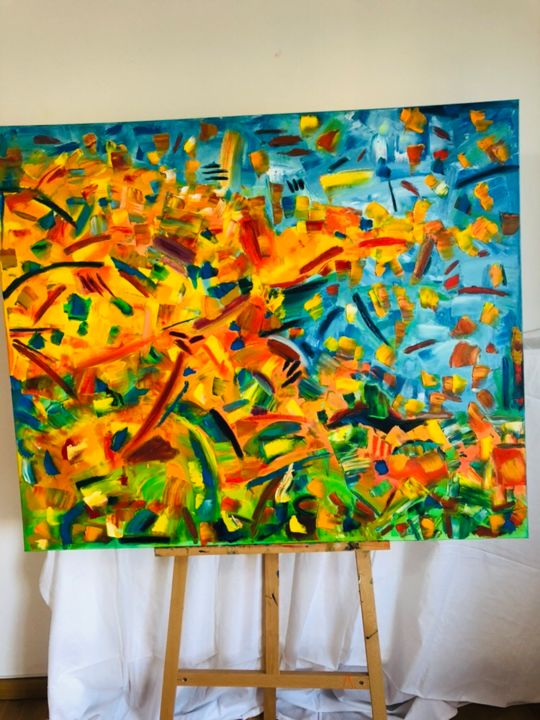 Feeling alive .jpeg - Painting,  120x100x4 cm ©2019 by Ramonika adam -                                                                        Abstract Art, Abstract Expressionism, Canvas, Abstract Art, abstract, expressionism, largesize, colors, beautifulcolors, knifepainting
