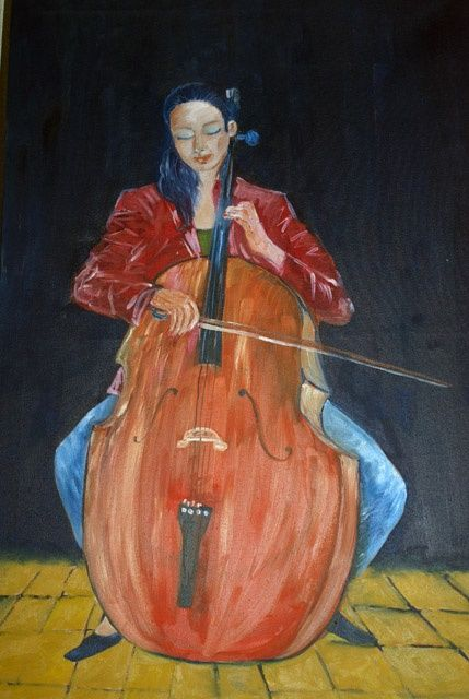 """Painting titled """"Woman Playing Cello"""" by Rana, Original Art,"""