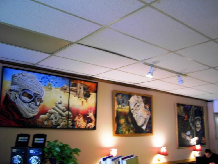"The month of April I exhibited paintings at ""GROUNDS FOR THOUGHT"" in Bowling Green, Ohio. This included displaying in the Bowling Green Art Walk."