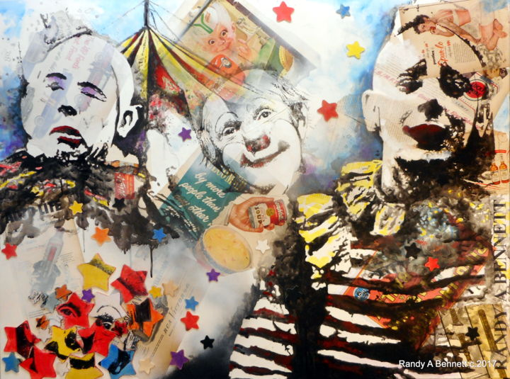 CLOWNS - Painting,  30x40 in ©2017 by Randy A Bennett Art -                                            Canvas, People, CLOWNS, CIRCUS, GREATEST SHOW ON EARTH