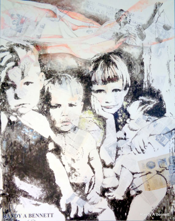 CHILDREN - Painting,  5x4 fe ©2018 by Randy A Bennett Art -                                            Pop Art, Children, CHILDREN, POVERTY