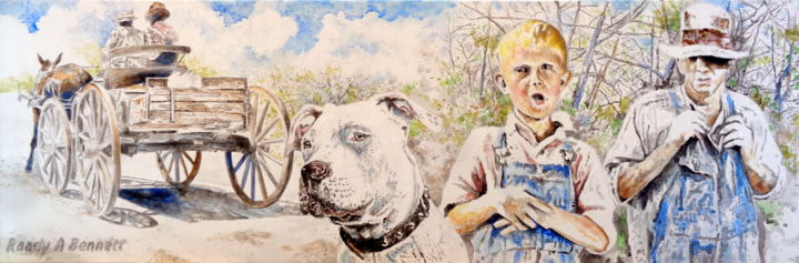 THE FARMER'S BOY'S DOG - Painting,  12x36 in, ©2019 by Randy A Bennett Art -