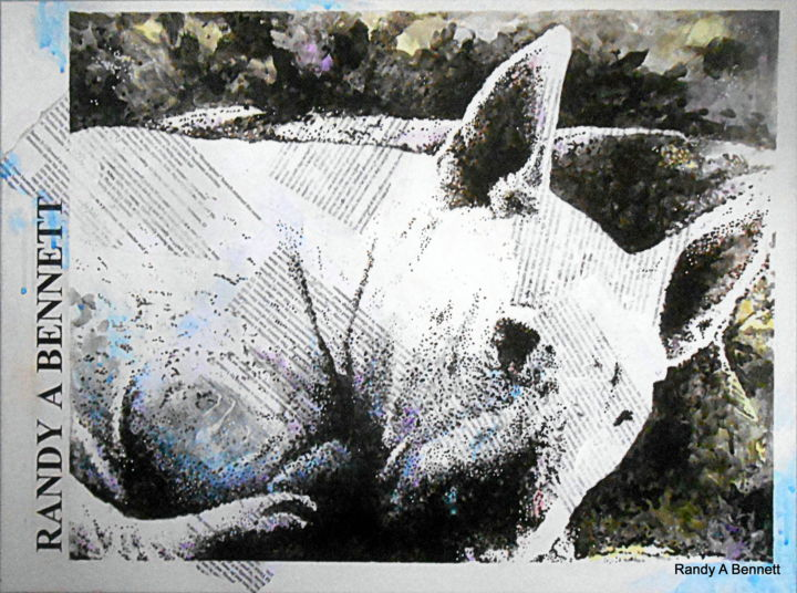 dscn1981-001.jpg - Mixed Media,  24x18 cm ©2016 by Randy A Bennett Art -                            Dogs, BULL TERRIERS
