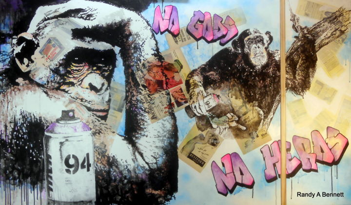 NO GODS, NO HEROS - Painting,  3x5 fe ©2016 by Randy A Bennett Art -                                                                Pop Art, Animals, Pop Culture / celebrity, Religion