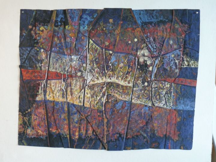 Last Supper Jazz - Painting,  48x37 in ©2011 by Ran Webber -            painting, casein on paper, double-sided painting