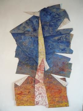 The Fall of Washington's Monument - Painting,  72x37 in ©2009 by Ran Webber -                            Contemporary painting, painting, casein on paper, mounted on wood