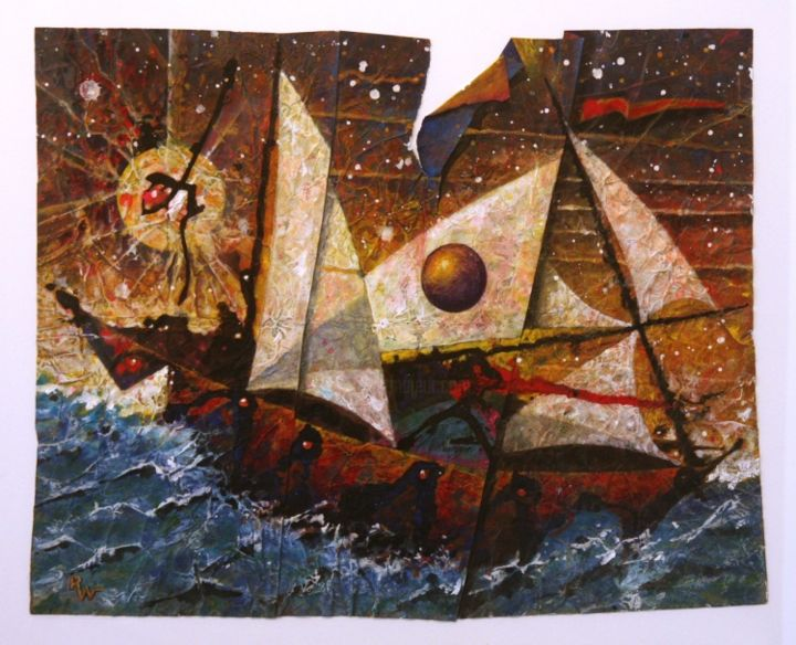 M. Jackson's Yacht - Painting,  24x30 in ©2009 by Ran Webber -            painting, casein on paper