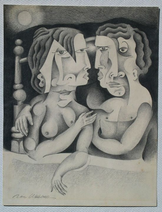 Hand Game - Painting,  12x9 in ©1973 by Ran Webber -            drawing, pencil on paper, figurative