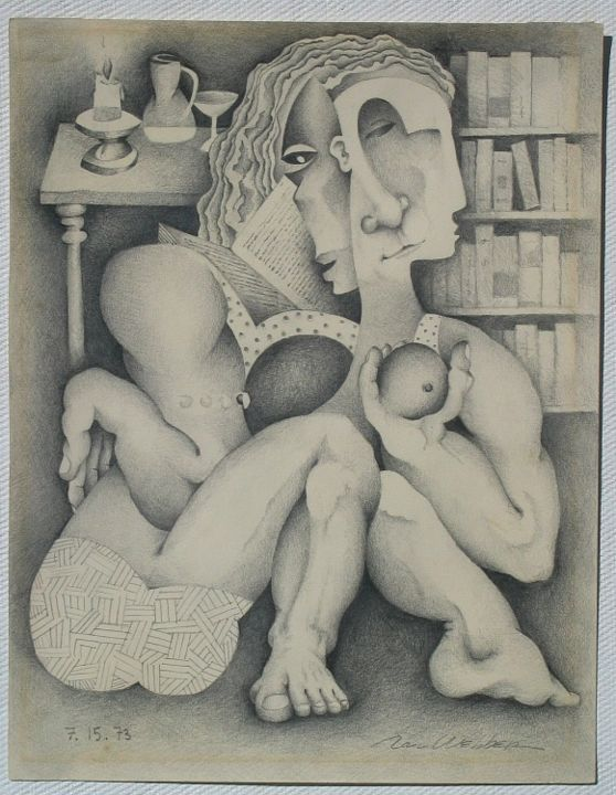 Descartes / Meditations - Painting,  12x9 in ©1973 by Ran Webber -            drawing, pencil on paper, figurative