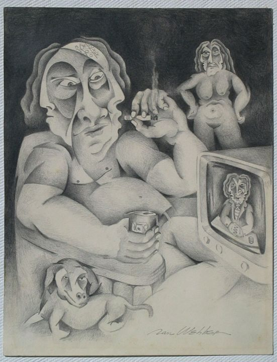 Saturday Night Again - Painting,  12x9 in ©1973 by Ran Webber -            drawing, pencil, figurative