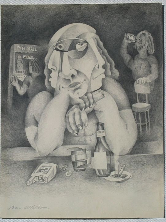 Fly Watching - Painting,  12x9 in ©1973 by Ran Webber -            drawing, pencil on paper, figurative