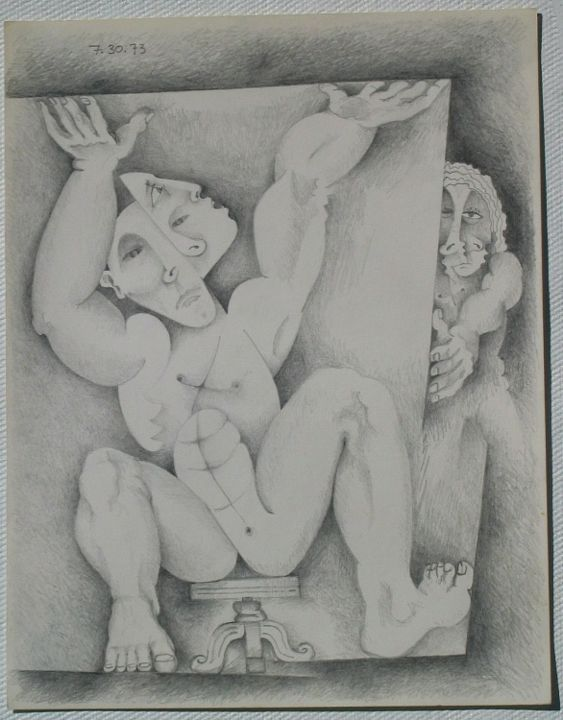 Neurosis - Painting,  12x9 in ©1973 by Ran Webber -            Drawing, pencil on paper, figurative